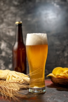 Frontansicht-glas bär mit cips-flasche und käse auf hellem weinfotogetränk snack farbe alkohol