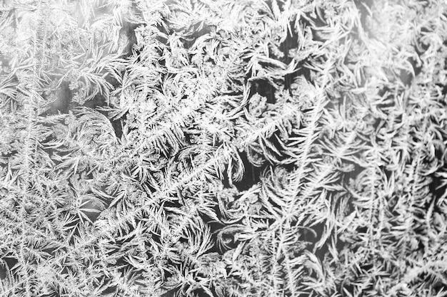 Frost auf der glasoberfläche