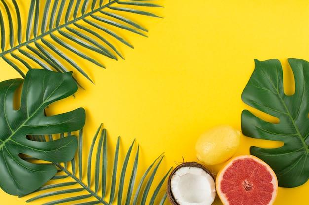 Fruchtbare tropische pflanze verlässt in der nähe von früchten und cocos