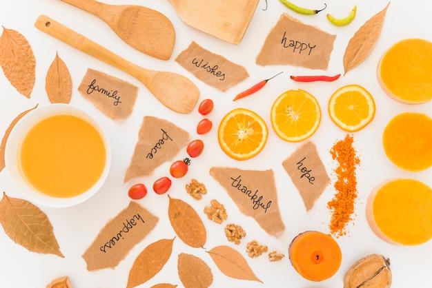Früchte, blätter und blätter an bord