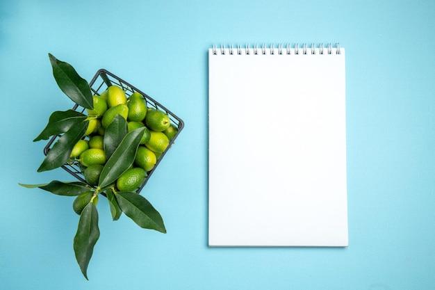 Früchte grauer korb mit zitrusfrüchten mit blättern neben dem weißen notizbuch