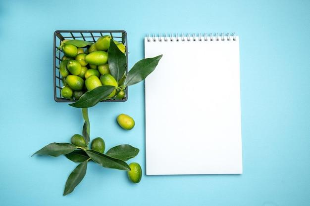 Früchte weißes notizbuch grauer korb mit zitrusfrüchten mit blättern