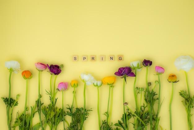 Frühling flatlay konzepthintergrund mit blumen und hölzernem wort des frühlinges