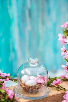 Frühling, ostern, eier nahaufnahme und kopierraum.