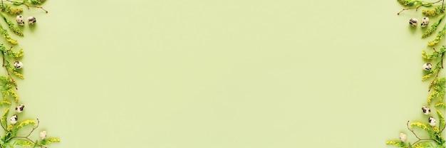 Frühlings-ostern-blumenbanner. natürliche äste, gelbe blumen und verschiedene eier auf grünem hintergrund