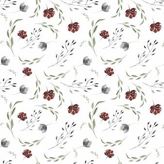 Frühlingsaquarell-blütenrosa und nahtloses muster der burgunder- und korallenblumen