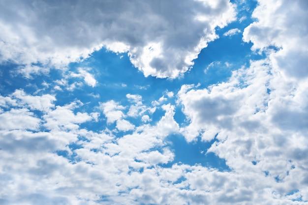 Frühlingsblauer himmel mit wolken und form des vogels