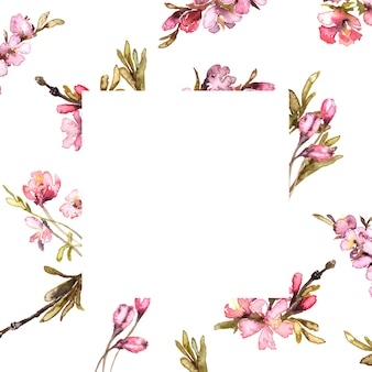 Frühlingsblumen aquarell vorlage. ausschreibung erröten rahmen