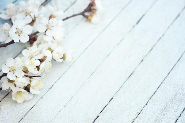 Frühlingsblumen auf holztischhintergrund. pflaumenblüte