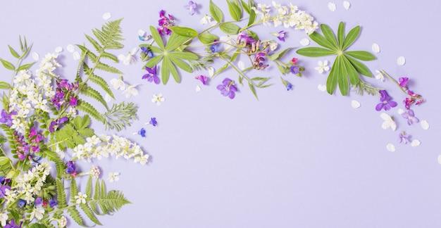 Frühlingsblumen auf violettem papierhintergrund