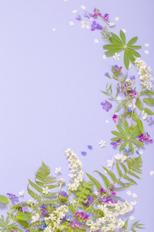 Frühlingsblumen auf violetter papieroberfläche