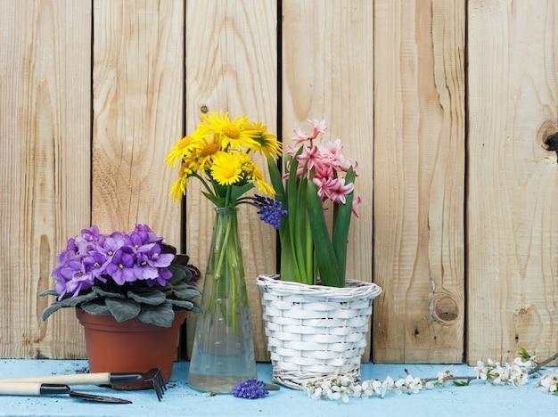 Frühlingsblumen in einem topf und in einer vase auf einem hölzernen hintergrund. blumenstillleben