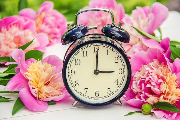 Frühlingsblumen und wecker. ändern sie die zeit.