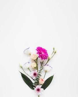 Frühlingsblumenstrauß von blumen auf weißem kopienraumhintergrund