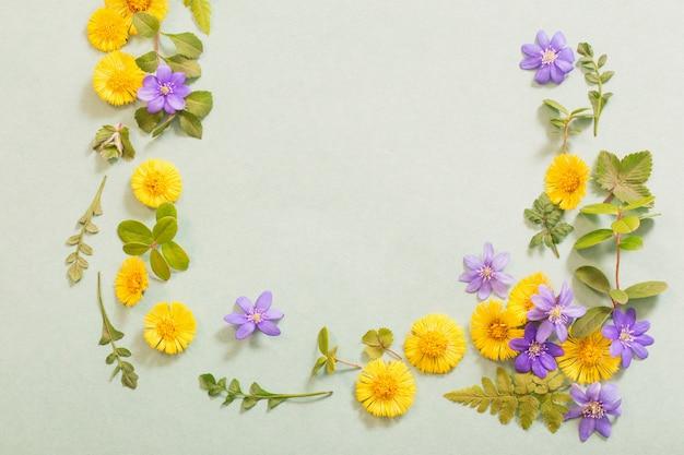 Frühlingsgelbe und violette blüten auf papier