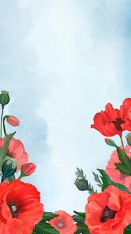 Frühlingshintergrund mit mohnblumengrenze