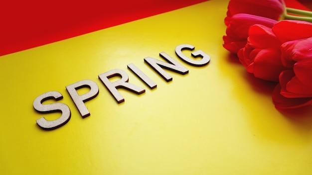 Frühlingskonzept. strauß tulpen auf buntem hintergrund. muttertag oder 8. märz festliches thema. nahaufnahme mit text frühling. frühlingsverkaufsbanner