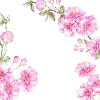 Frühlingsrahmen von bluming kirschblüte.