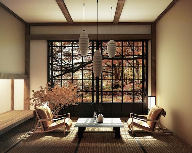 Frühlingsraum mit bonsaibaum und niedriger tabelle auf tatami matte