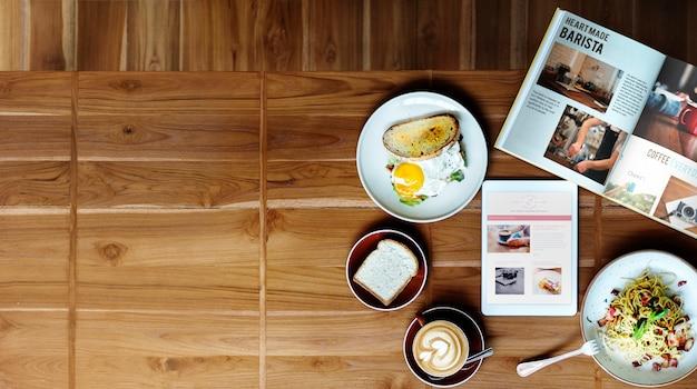 Frühstücks-lebensmittel-café-köstliches zeitgenössisches konzept