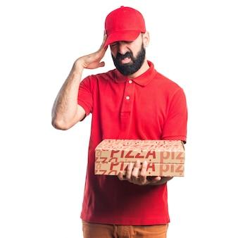 Frustriert pizza lieferung mann