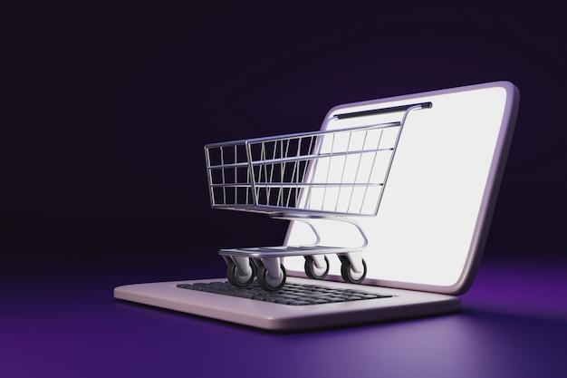 Fügen sie in einkaufswagen online-einkauf, einkaufswagen und laptop