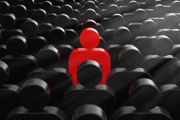 Führer-konzept. eine rote mann-person in der masse der einfachen leute extreme nahaufnahme. 3d-rendering