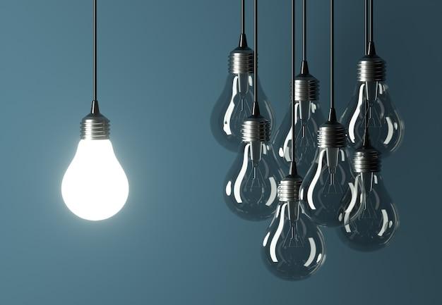 Führung oder kreatives ideenkonzept mit glühbirnen