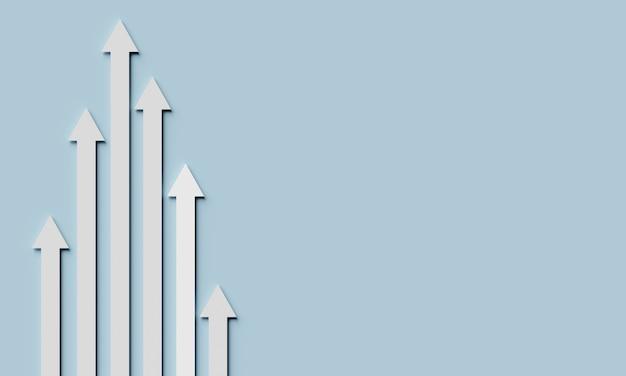 Führung und geschäftskonzept. pfeile unterschiedlicher länge mit leerem hintergrund