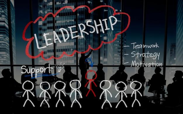 Führungs-teamwork-management-stützstrategie-konzept