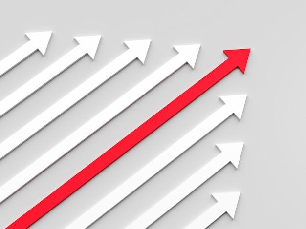 Führungskonzept ein roter führungspfeil führt das team nach vorne