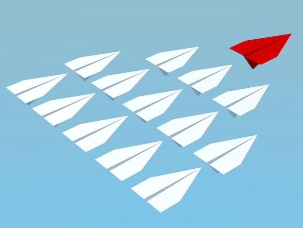 Führungskonzept. ein rotes führungsflugzeug führt andere weiße flugzeuge nach vorne