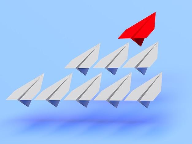 Führungskonzept. eine rote leitfläche führt andere graue flugzeuge nach vorne