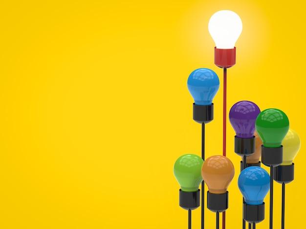 Führungskonzept mit leuchtender glühbirne