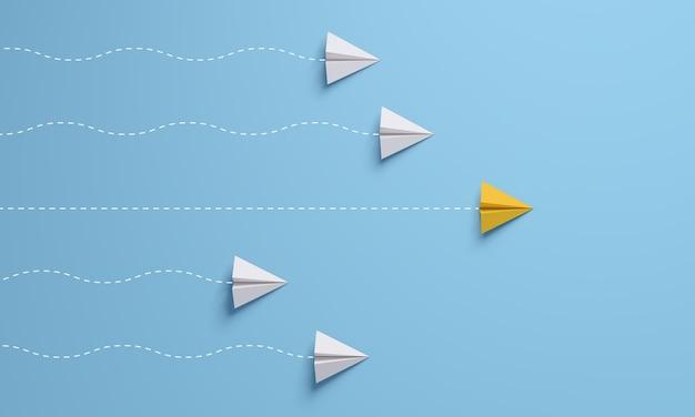 Führungskonzepte mit gelbem papierflugzeug, das unter weißem blauem hintergrund führt. 3d-rendering.