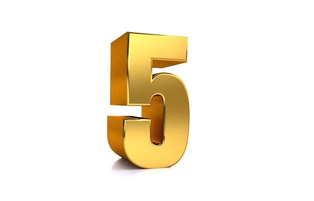 Fünf 3d-illustration goldene zahl 5 auf weißem hintergrund und kopienraum auf der rechten seite für text am besten für jubiläumsgeburtstag neujahrsfeier