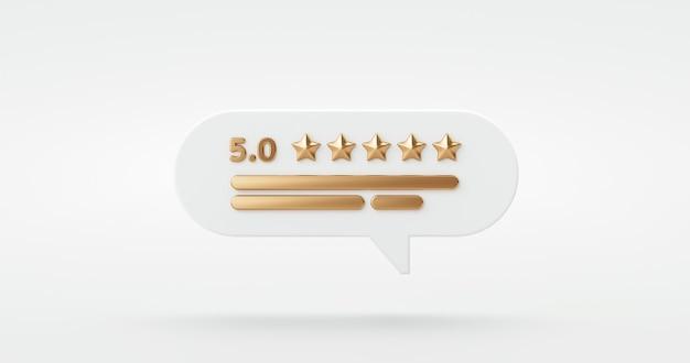 Fünf-gold-sterne-bewertung kundenerfahrung qualitätsservice ausgezeichnetes feedback-konzept auf beste bewertung zufriedenheit hintergrund mit flachem design-ranking-symbol 3d-rendering.