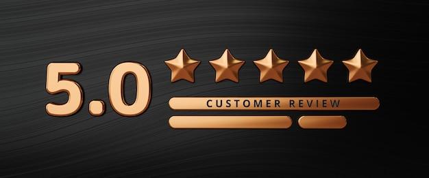 Fünf-gold-sterne-bewertung kundenerfahrung qualitätsservice ausgezeichnetes feedback-konzept zur besten bewertung zufriedenheit luxus-hintergrund mit flachem design-ranking-symbol. 3d-rendering.