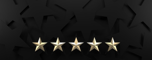Fünf goldene sterne, die schwarzen hintergrund bewerten. 3d