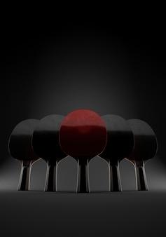 Fünf schläger zum spielen von tischtennis oder tischtennis auf epischem schwarzem hintergrund. 3d-illustration. mit kopierplatz. konzept des teams.