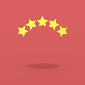 Fünf sterne auf rotem hintergrund