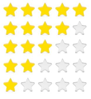 Fünf sterne bewertung. rückmeldung, qualität. gelbe sterne auf weißem hintergrund. 3d-rendering.