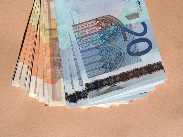 Fünfzig und zwanzig euro banknoten währung der europäischen union