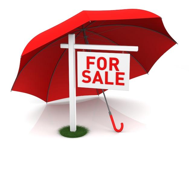 Für verkaufsschild mit rotem regenschirm. 3d-rendering