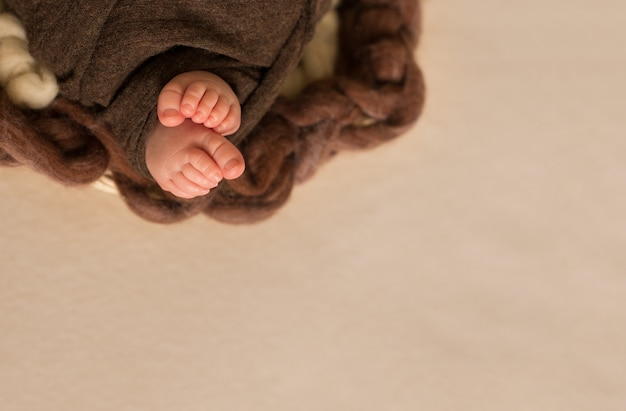 Füße des neugeborenen in mutterhänden, mädchen mit rosa blüten, finger am fuß, mütterliche fürsorge, liebe und familienumarmungen, zärtlichkeit.