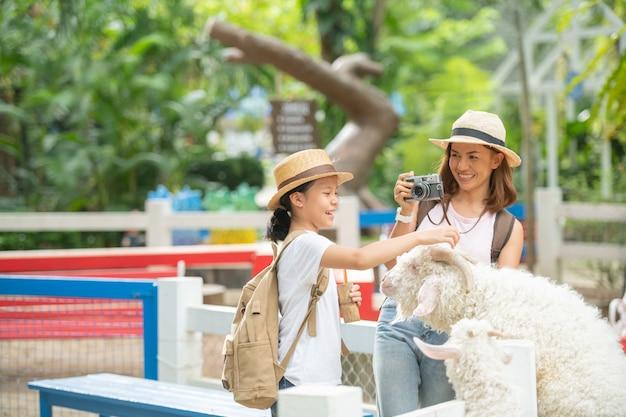 Fütterung der ziege. asiatische mutter und tochter füttern eine weiße ziege mit ihrer hand auf der tierfarm.