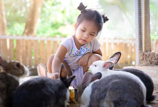 Fütterungskaninchen des netten kleinen asiatischen mädchens auf dem bauernhof