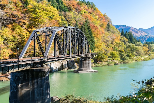 Fukushima black bridge tadami river japan