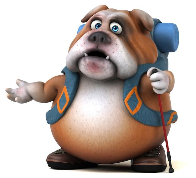 Fun backpacker bulldog animation