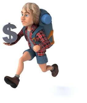 Fun backpacker cartoon kerl